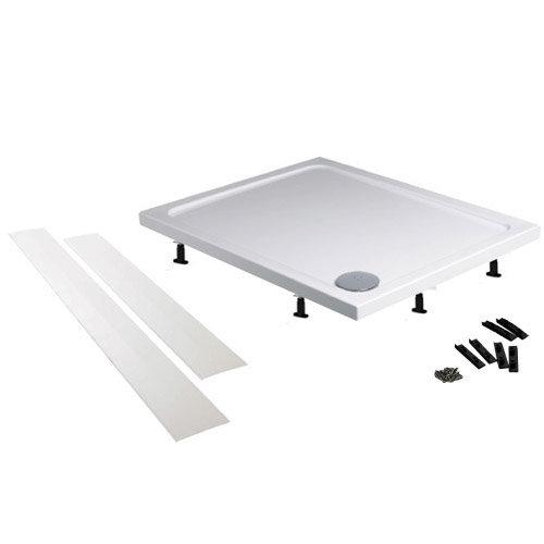 Aurora Pearlstone Rectangular Shower Tray + Riser Kit profile large image view 5