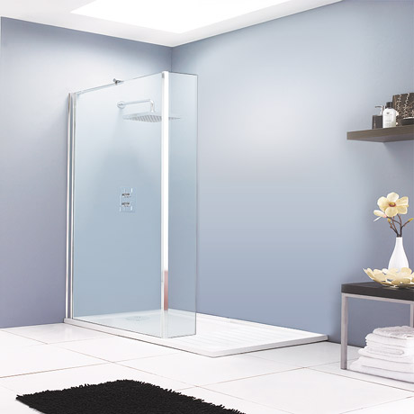 Aurora Walk In Shower Enclosure with Return Panel 8mm & Tray (1400 x 900mm)