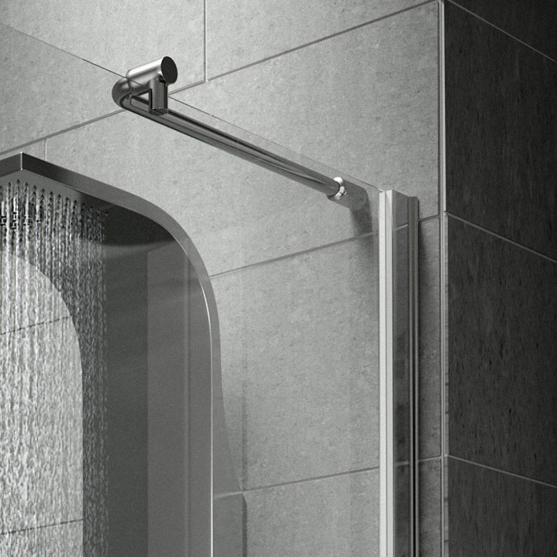 Aurora Walk In Shower Enclosure with Side Panel 8mm & Tray (1600 x 800mm) profile large image view 5