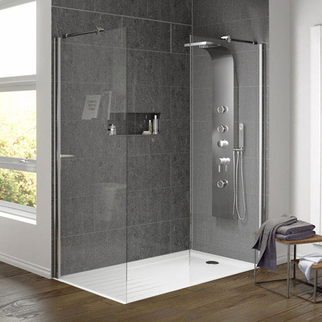 Aurora Walk In Shower Enclosure with Side Panel 8mm & Tray (1600 x 800mm)