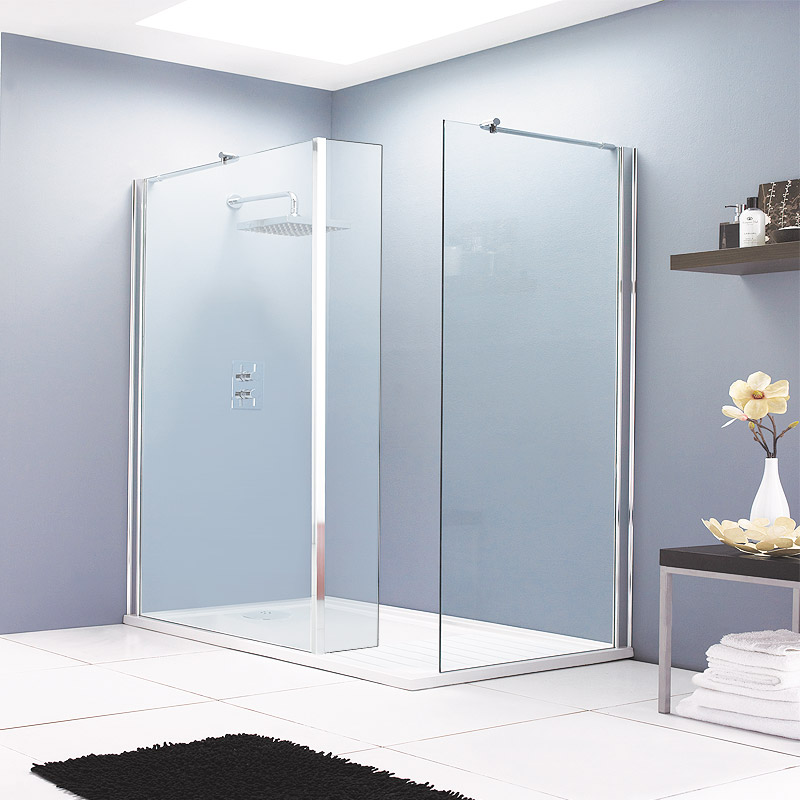 Aurora Walk In Shower Enclosure with Side & Return Panel 8mm & Tray (1600 x 800mm) Large Image