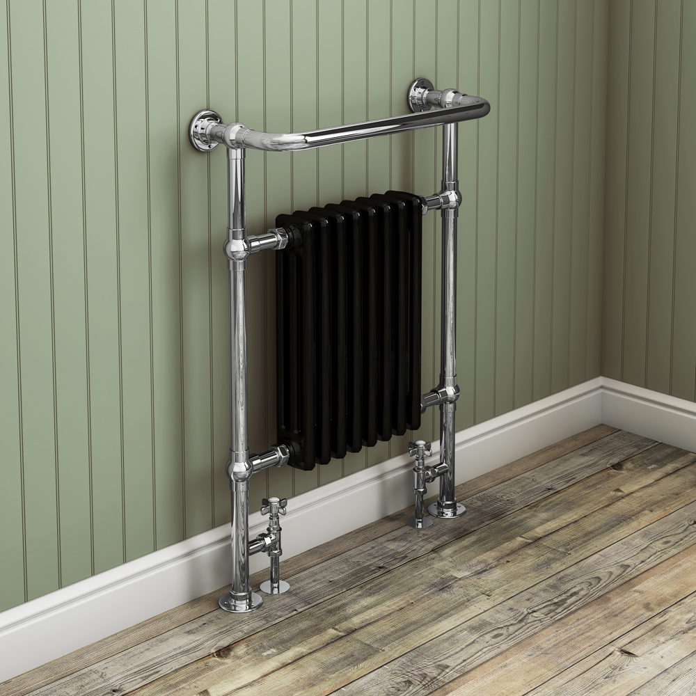 Aston Traditional Heated Towel Rail (Black & Chrome) profile large image view 2