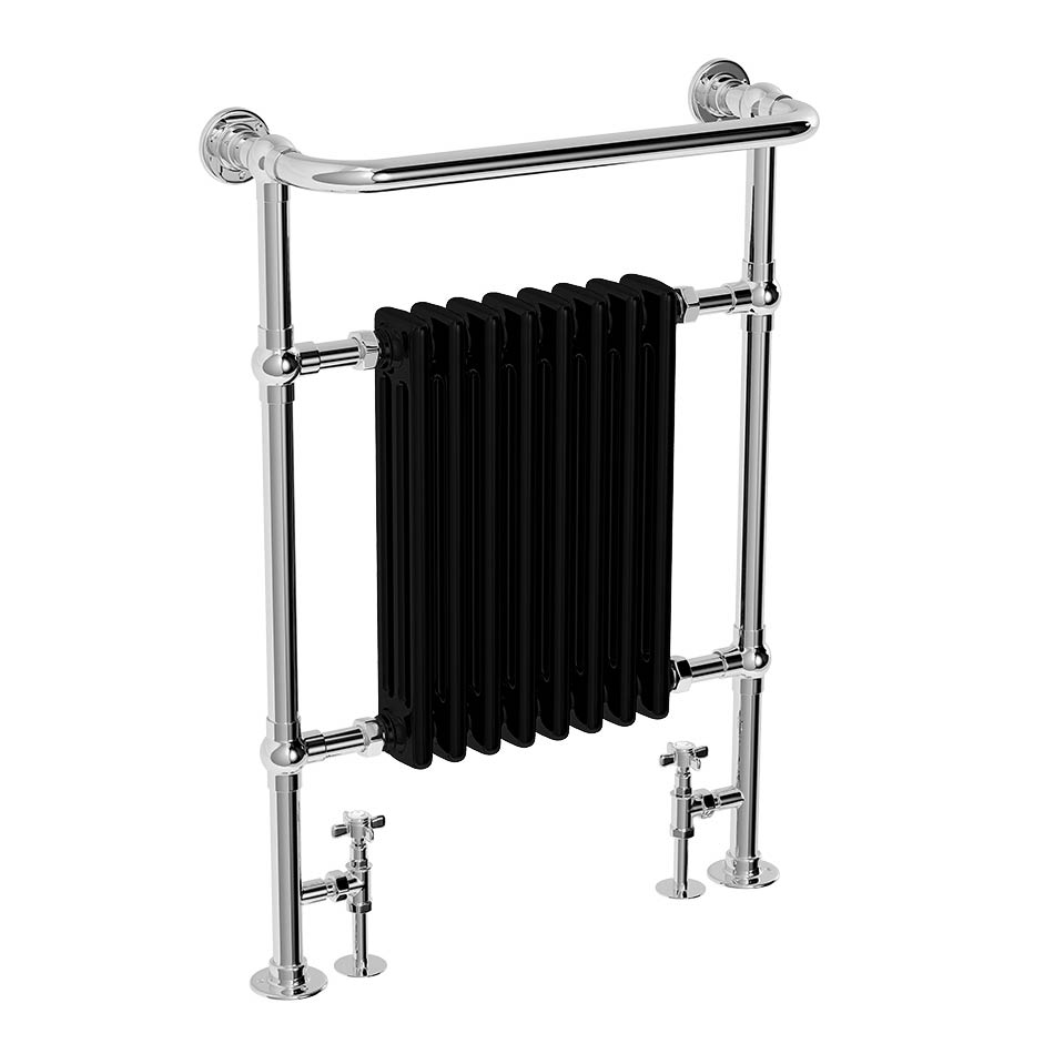 Alpine Modern Heated Towel Rail Warmer Chrome: Aston Traditional Heated Towel Rail (Black & Chrome