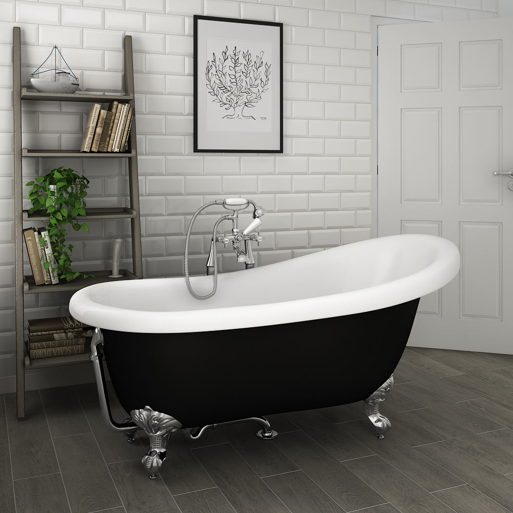 Astoria Black 1550 Roll Top Slipper Bath w. Ball + Claw Leg Set profile large image view 1