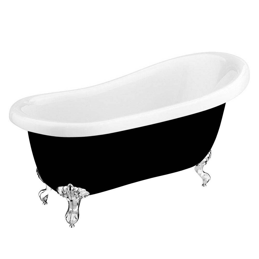 Astoria Black 1550 Roll Top Slipper Bath w. Ball + Claw Leg Set Large Image