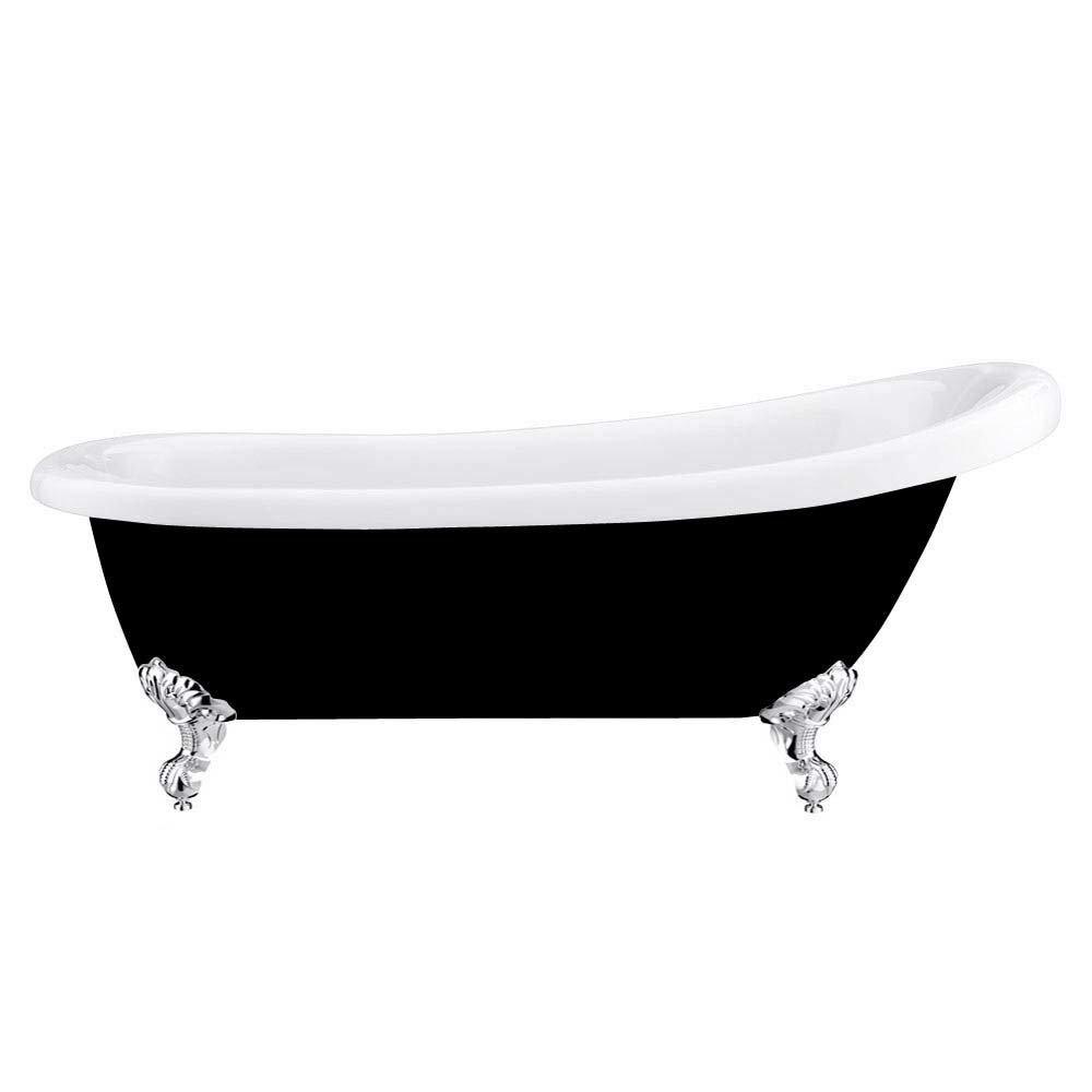 Astoria Black 1710 Roll Top Slipper Bath w. Ball + Claw Leg Set profile large image view 2
