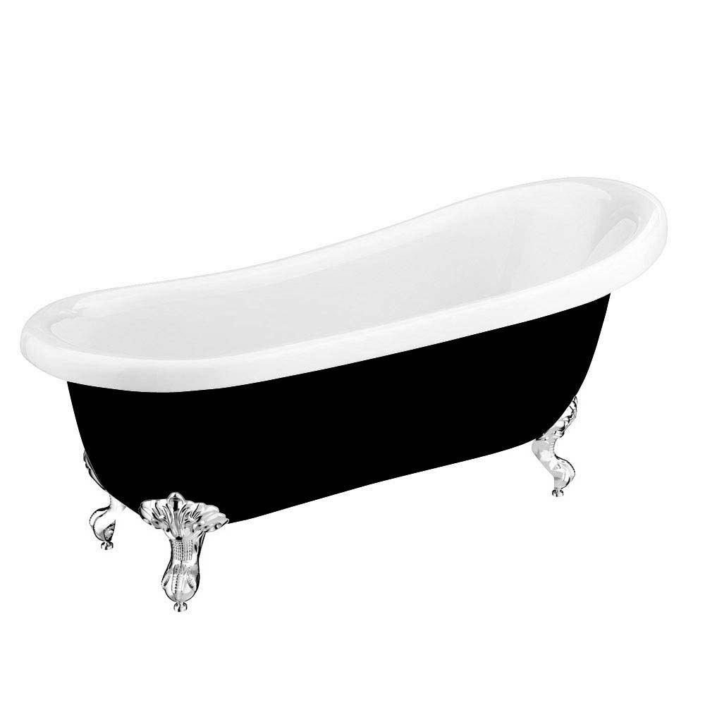 Astoria Black 1710 Roll Top Slipper Bath w. Ball + Claw Leg Set profile large image view 6