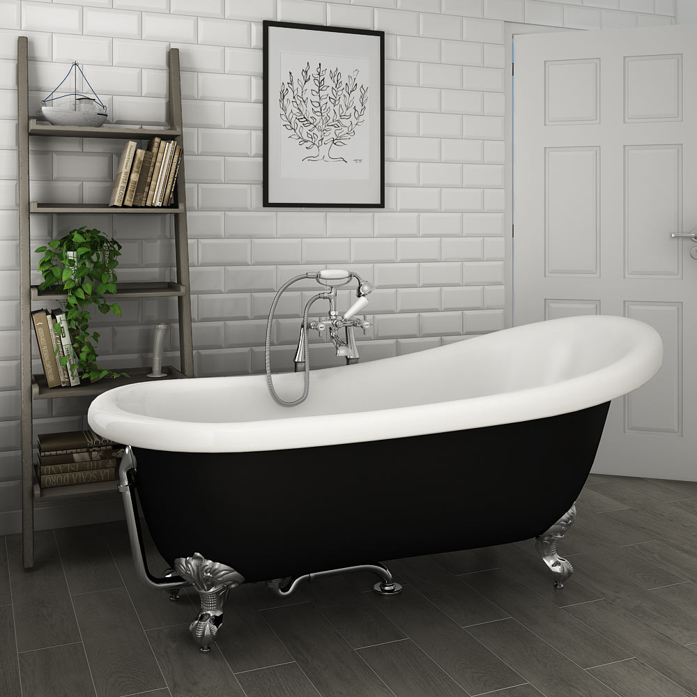 Astoria Black 1710 Roll Top Slipper Bath W. Ball + Claw