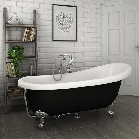 Astoria Black 1710 Roll Top Slipper Bath w. Ball + Claw Leg Set