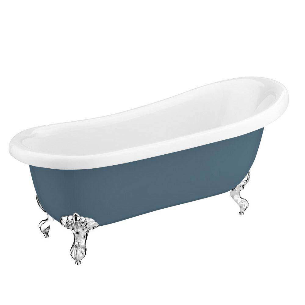 Astoria Blue 1710 Roll Top Slipper Bath w. Ball + Claw Leg Set Large Image