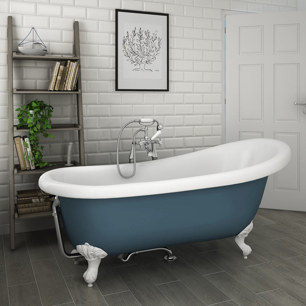 Astoria Blue 1710 Roll Top Slipper Bath w. Ball + Claw Leg Set