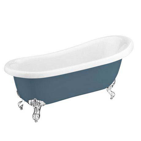 Astoria Blue 1710 Roll Top Slipper Bath w. Ball + Claw Leg Set