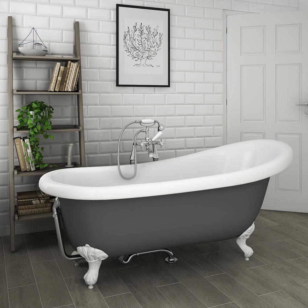 Astoria Grey 1710 Roll Top Slipper Bath w. Ball + Claw Leg Set