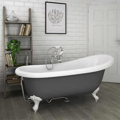 Astoria Grey 1710 Roll Top Slipper Bath w. Ball + Claw Leg Set