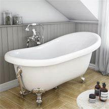 Astoria Roll Top Slipper Bath + Chrome Leg Set - 1550mm Medium Image