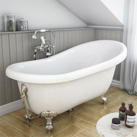 Astoria Roll Top Slipper Bath + Chrome Leg Set - 1550mm