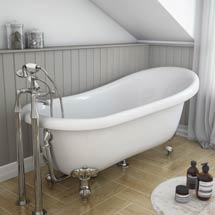 Astoria Roll Top Slipper Bath + Chrome Leg Set - 1710mm Medium Image