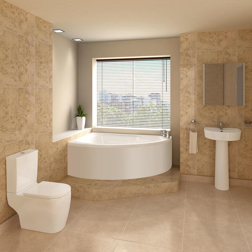 Bianco Bathroom Suite with Orlando Corner Bath