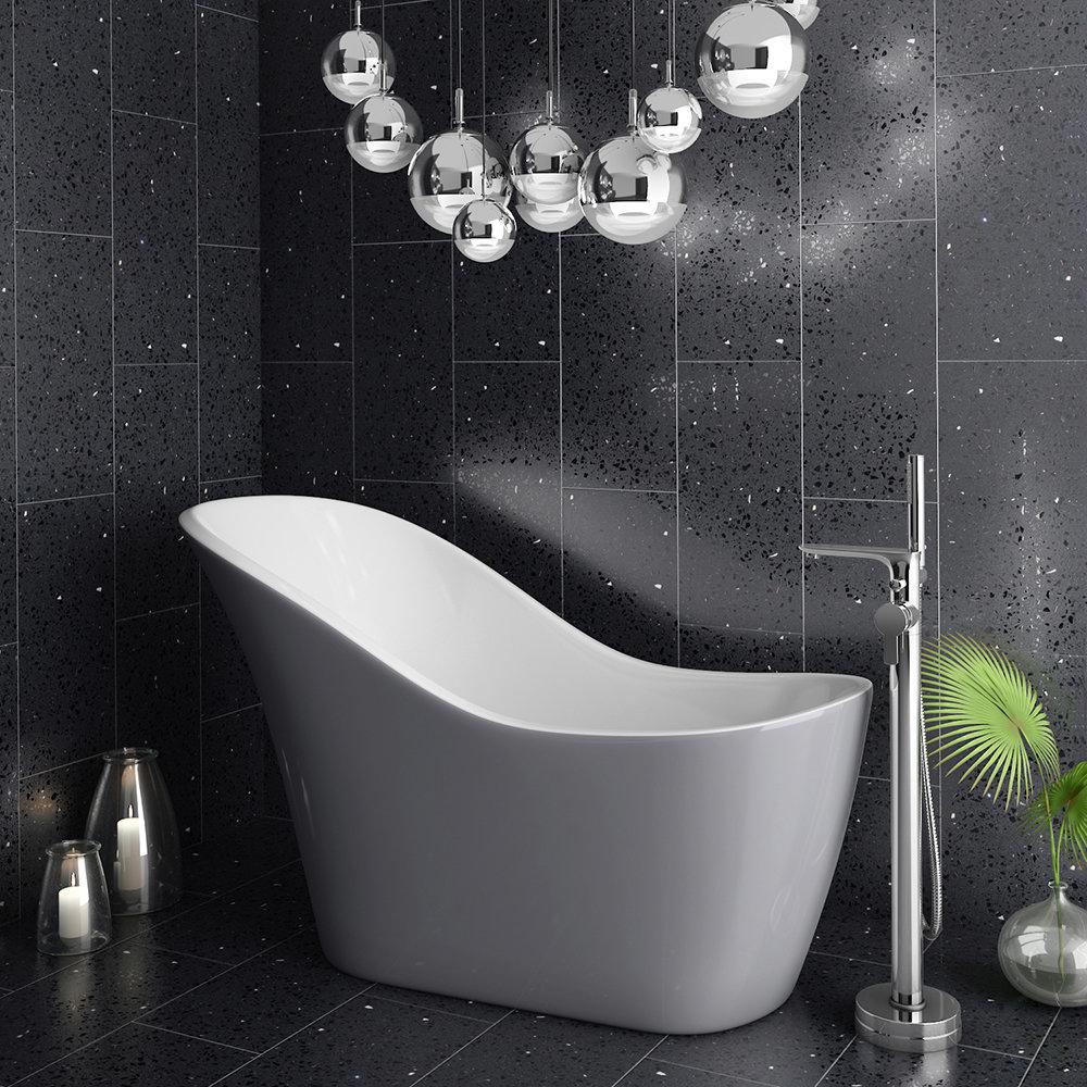 Vienna Silver 1520 Small Modern Slipper, Black And Silver Bathroom
