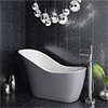 Vienna Silver 1520 Small Modern Slipper Bath profile small image view 1