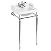 Burlington 1TH Classic 50cm Basin and Chrome Wash Stand profile small image view 1