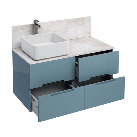 Aqua Cabinets - D1000 Wall Hung Double Drawer Unit with Ceramic Square Basin - Ocean