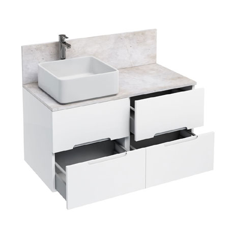 Aqua Cabinets - D1000 Wall Hung Double Drawer Unit with Ceramic Square Basin - White