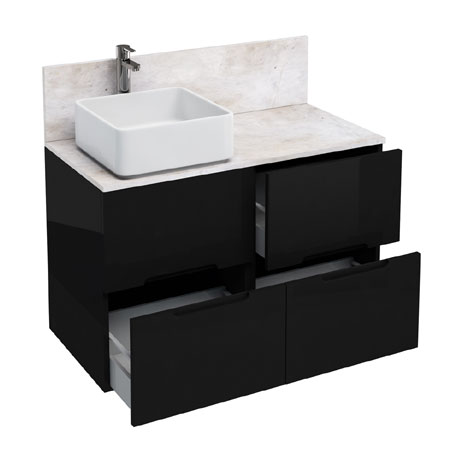 Aqua Cabinets - D1000 Floor Standing Double Drawer Unit with Ceramic Square Basin - Black