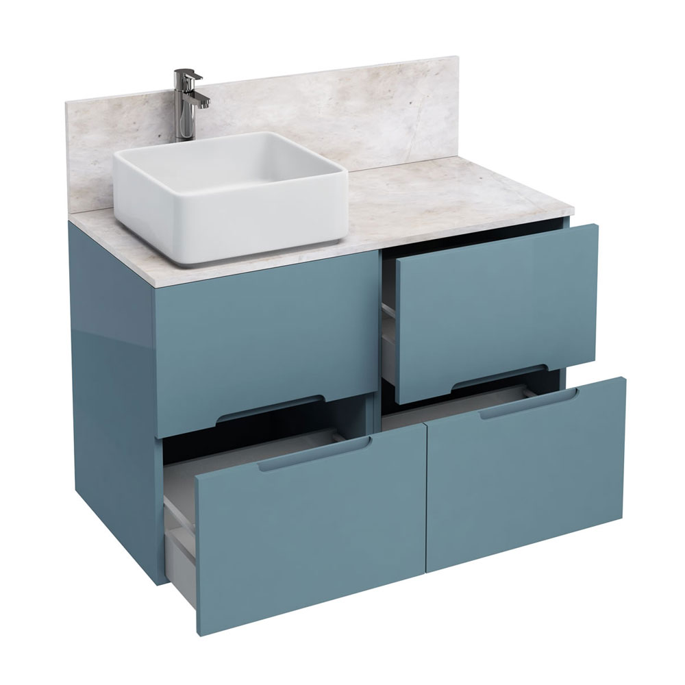 Aqua Cabinets - D1000 Floor Standing Double Drawer Unit with Ceramic Square Basin - Ocean Large Image