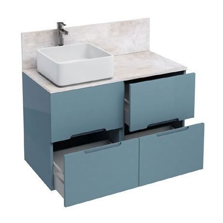 Aqua Cabinets - D1000 Floor Standing Double Drawer Unit with Ceramic Square Basin - Ocean