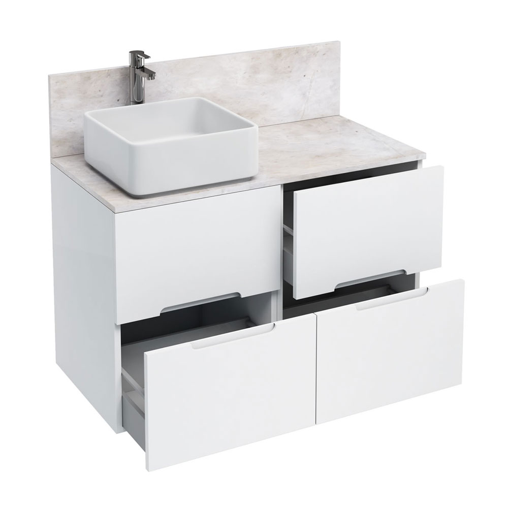 Aqua Cabinets - D1000 Floor Standing Double Drawer Unit with Ceramic Square Basin - White Large Image