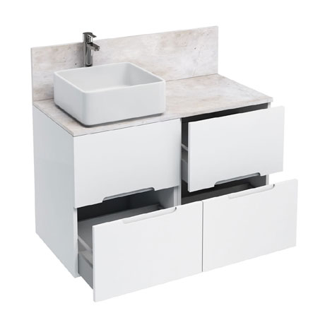 Aqua Cabinets - D1000 Floor Standing Double Drawer Unit with Ceramic Square Basin - White