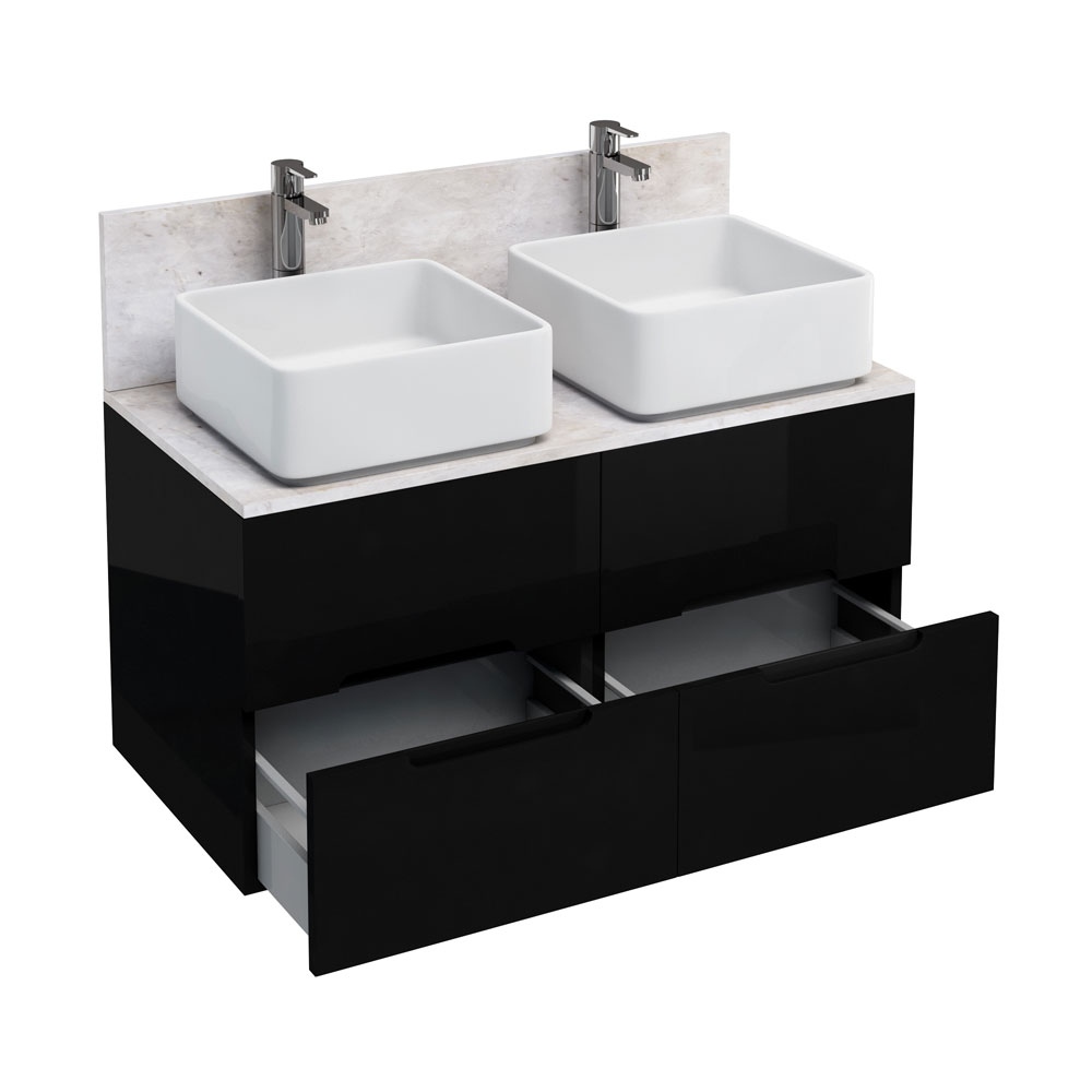 Aqua Cabinets - D1000 Wall Hung Double Drawer Unit with Two Ceramic Square Basins - Black profile large image view 1