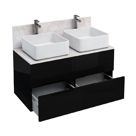Aqua Cabinets - D1000 Wall Hung Double Drawer Unit with Two Ceramic Square Basins - Black