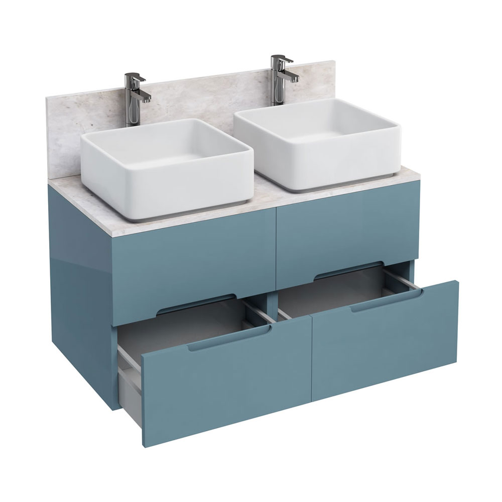 Aqua Cabinets - D1000 Wall Hung Double Drawer Unit with Two Ceramic Square Basins - Ocean Large Image