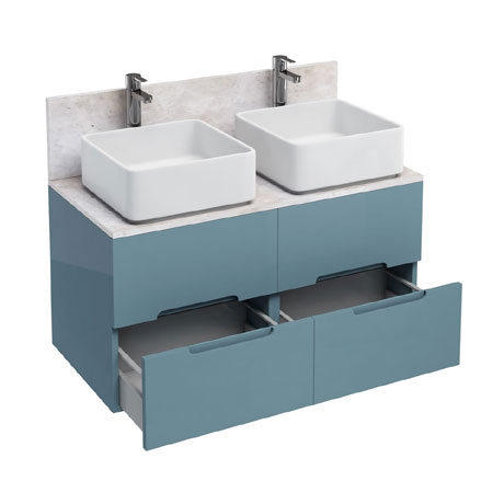 Aqua Cabinets - D1000 Wall Hung Double Drawer Unit with Two Ceramic Square Basins - Ocean