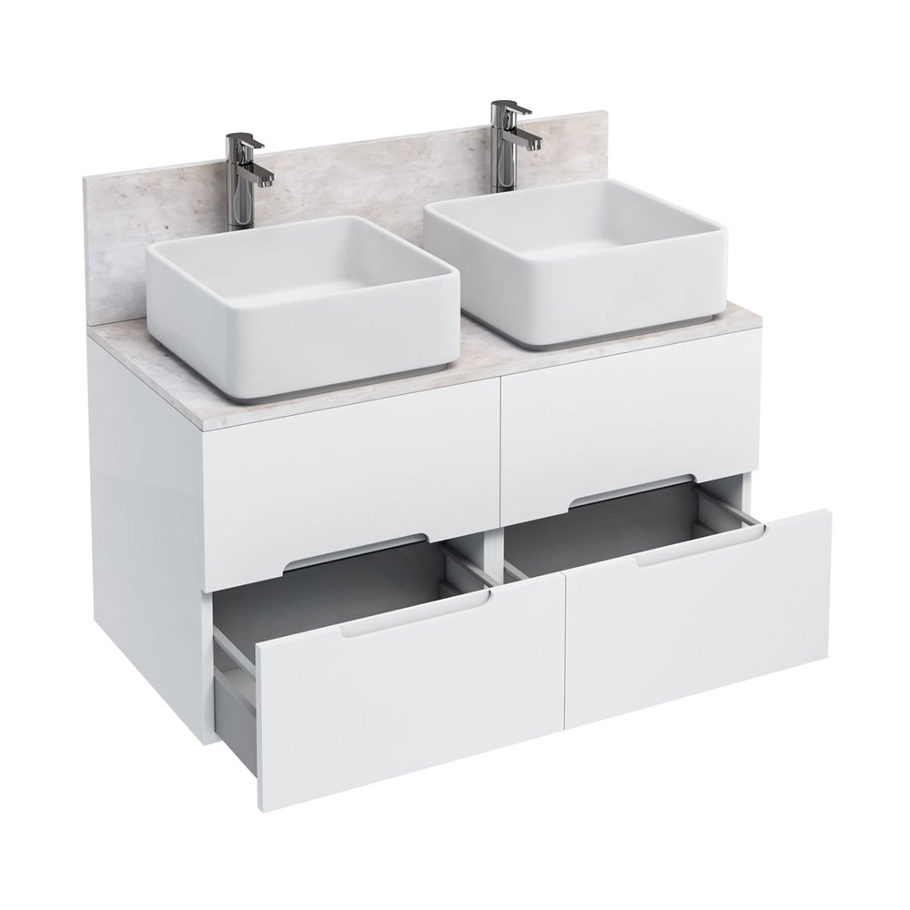 Aqua Cabinets - D1000 Wall Hung Double Drawer Unit with Two Ceramic Square Basins - White Large Image