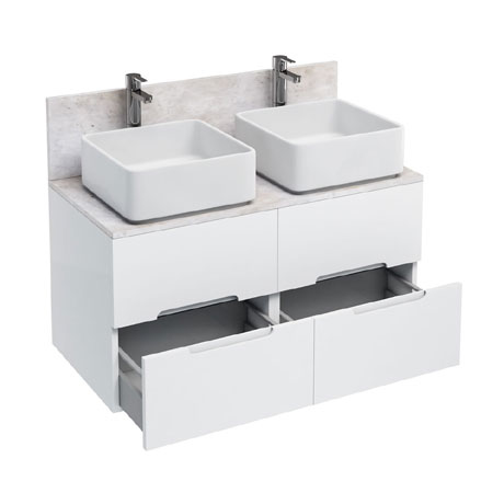 Aqua Cabinets - D1000 Wall Hung Double Drawer Unit with Two Ceramic Square Basins - White