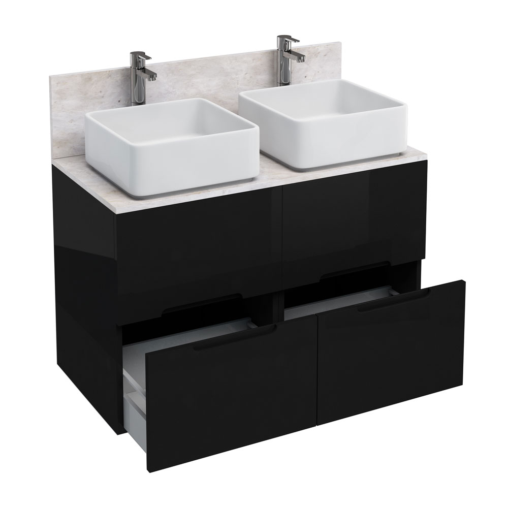 Aqua Cabinets - D1000 Floor Standing Double Drawer Unit with Two Ceramic Square Basins - Black Large Image