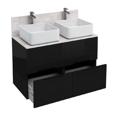 Aqua Cabinets - D1000 Floor Standing Double Drawer Unit with Two Ceramic Square Basins - Black