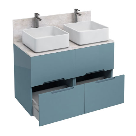 Aqua Cabinets - D1000 Floor Standing Double Drawer Unit with Two Ceramic Square Basins - Ocean