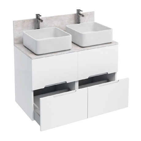 Aqua Cabinets - D1000 Floor Standing Double Drawer Unit with Two Ceramic Square Basins - White