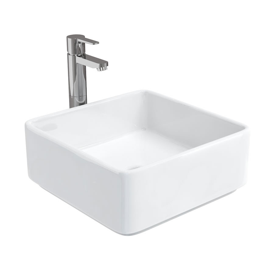 Aqua Cabinets - D1000 Floor Standing Double Drawer Unit with Ceramic Square Basin - White Profile Large Image
