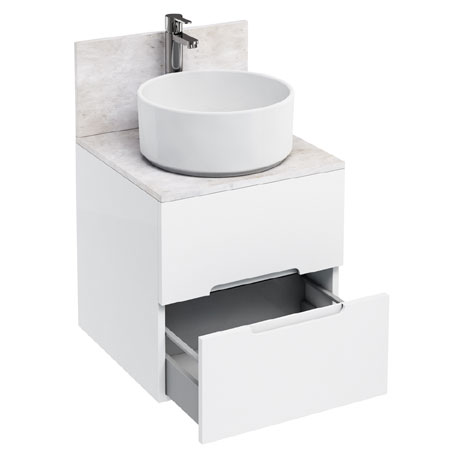 Aqua Cabinets - D500 Wall Hung Double Drawer Unit with Ceramic Round Basin - White