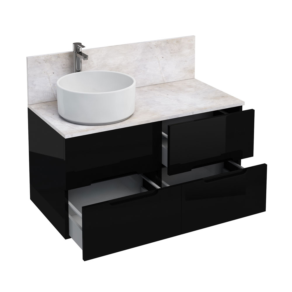 Aqua Cabinets - D1000 Wall Hung Double Drawer Unit with Ceramic Round Basin - Black Large Image