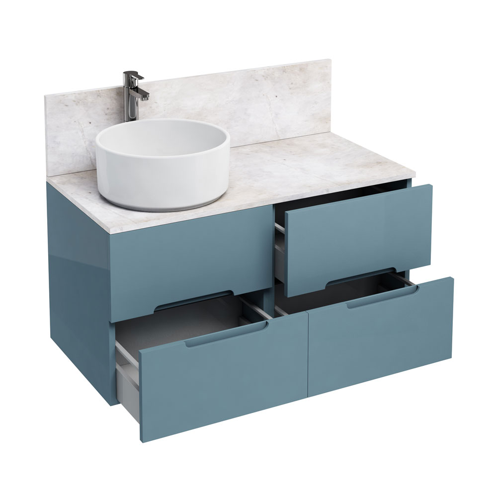 Aqua Cabinets - D1000 Wall Hung Double Drawer Unit with Ceramic Round Basin - Ocean Large Image