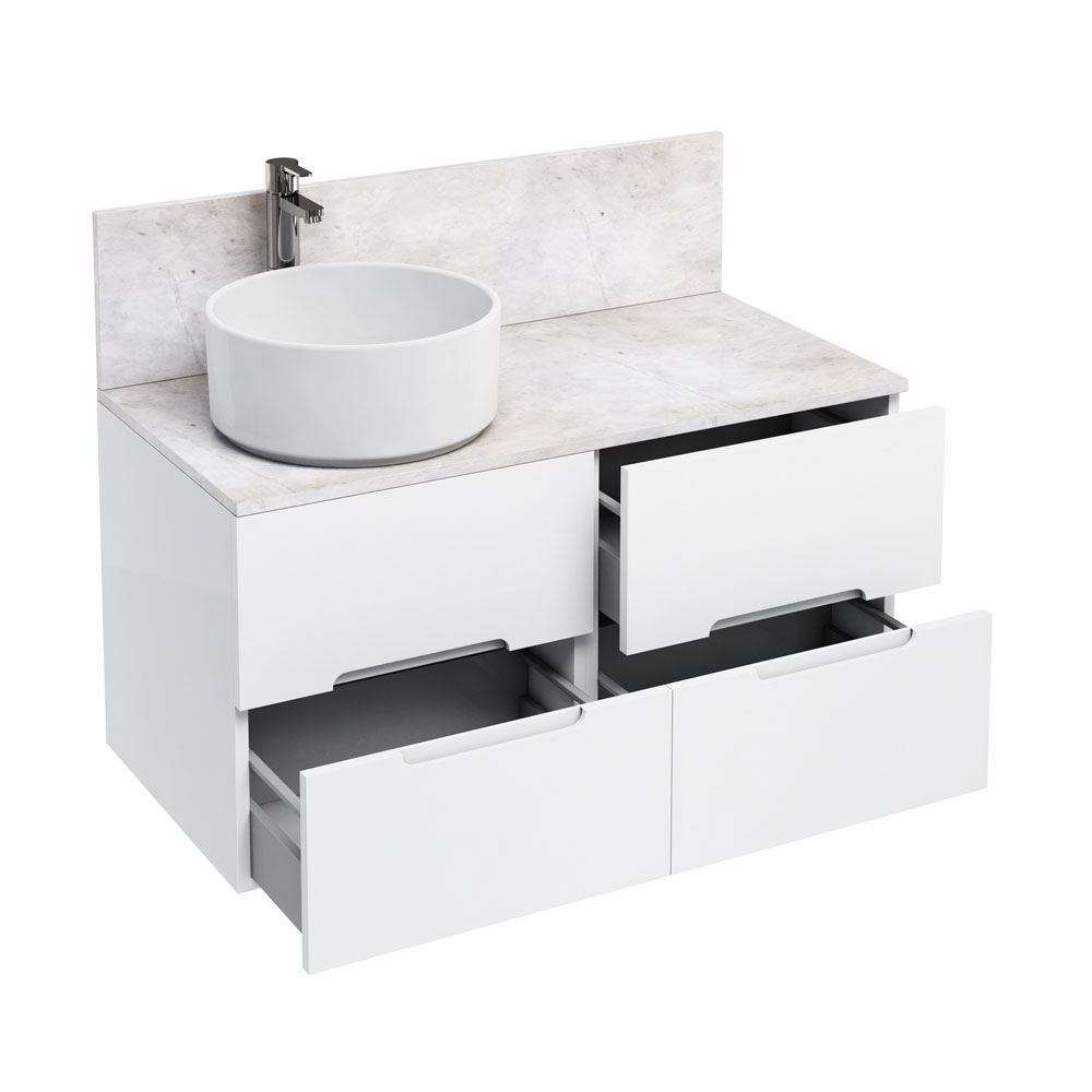 Aqua Cabinets - D1000 Wall Hung Double Drawer Unit with Ceramic Round Basin - White Large Image