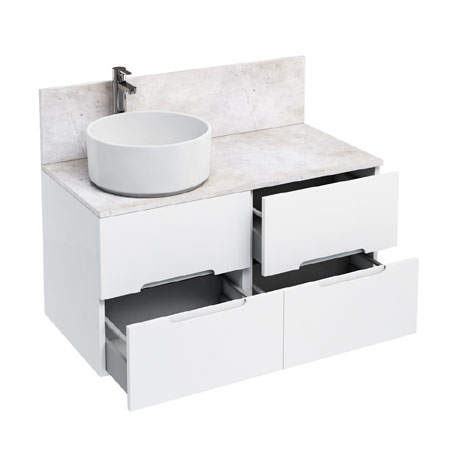 Aqua Cabinets - D1000 Wall Hung Double Drawer Unit with Ceramic Round Basin - White