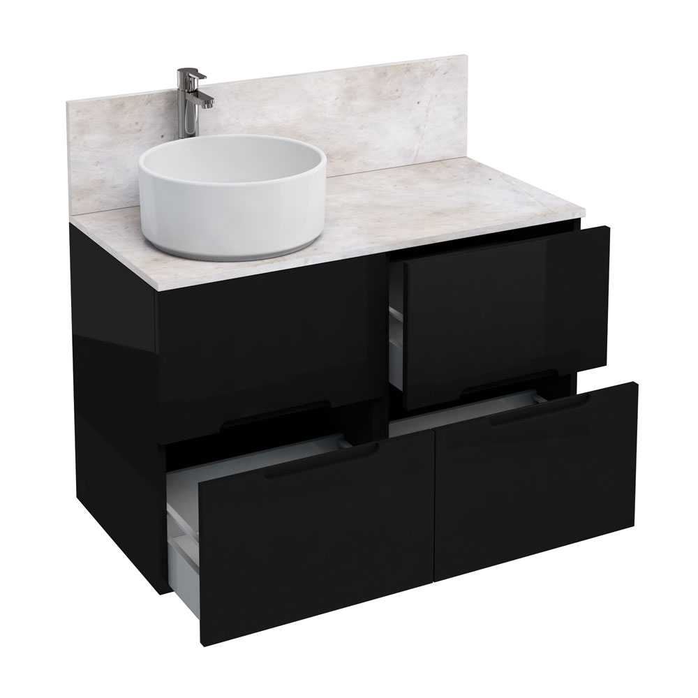 Aqua Cabinets - D1000 Floor Standing Double Drawer Unit with Ceramic Round Basin - Black Large Image