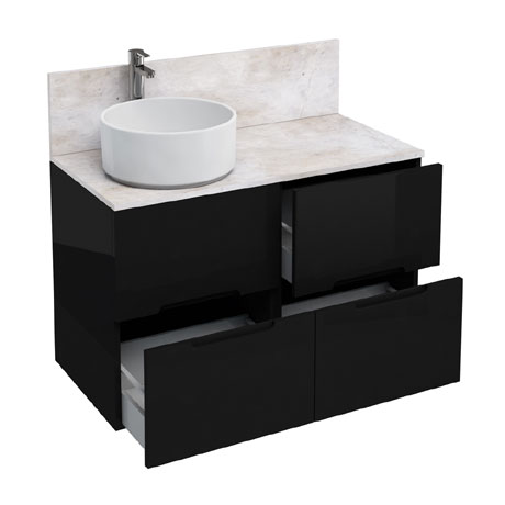Aqua Cabinets - D1000 Floor Standing Double Drawer Unit with Ceramic Round Basin - Black